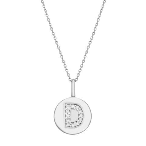 """White gold diamond pendant """"Letter D"""""""