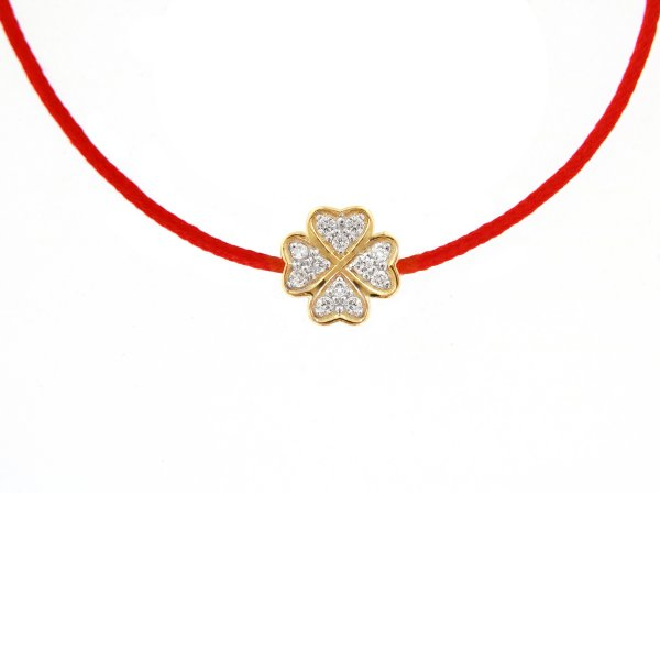 """Raudona juostelė-pakabukas su deimantais ir aukso užsegimu """"Dobilas"""" (geltonas auksas)"""