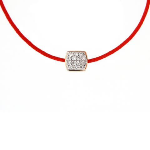 Yellow gold diamond necklace with gold clasp (red colour)