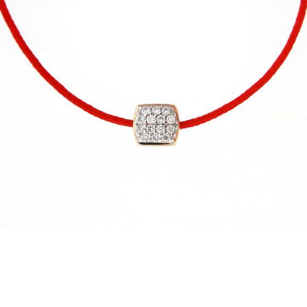 Raudona juostelė-pakabukas su deimantais ir aukso užsegimu (geltonas auksas)