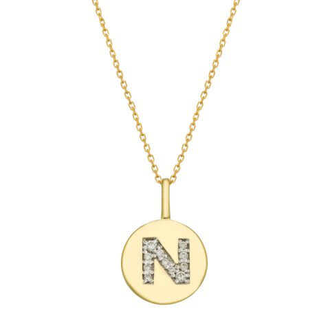 "Yellow gold diamond pendant ""Letter N"""