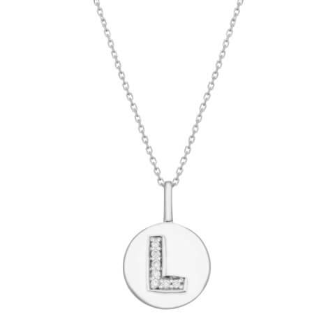 "White gold diamond pendant ""Letter L"""