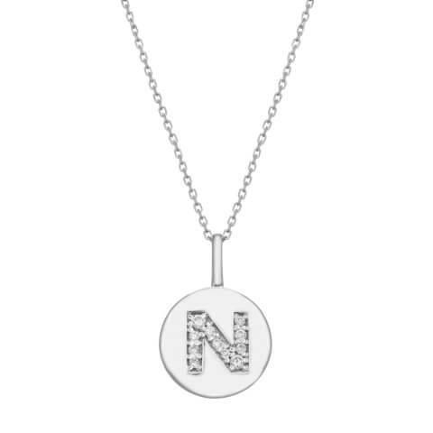 Balto aukso pakabukas su deimantais raidė N
