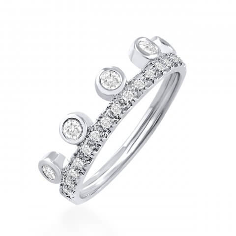 "White gold diamond ring ""Crown"""
