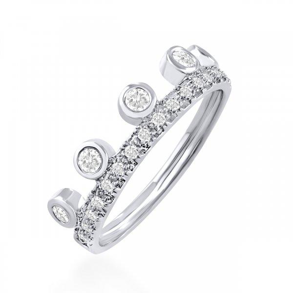 Balto aukso žiedas karūna su deimantais