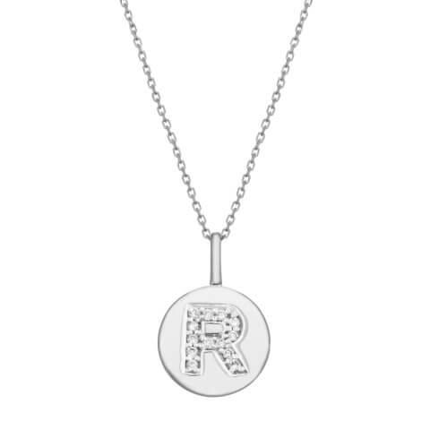 """White gold diamond pendant """"Letter R"""""""