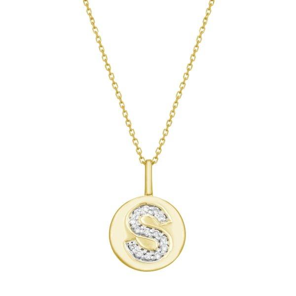 Geltono aukso pakabukas su deimantais raidė S