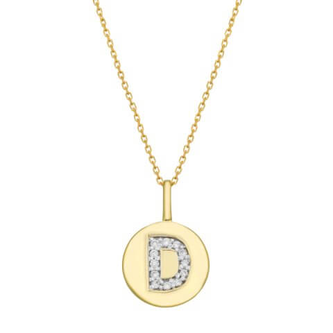 "Yellow gold diamond pendant ""Letter D"""