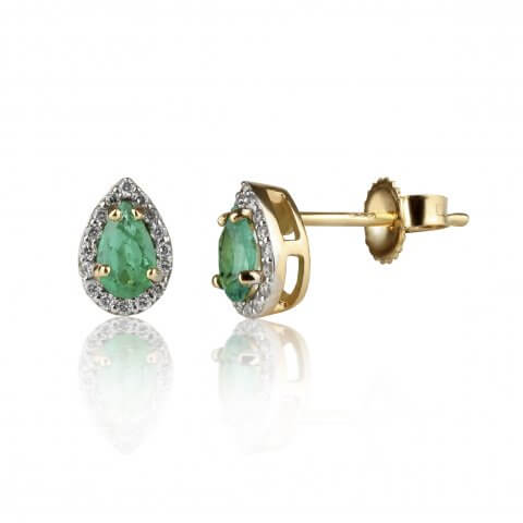 Yellow gold emerald and diamond earrings