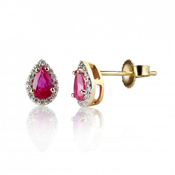 Geltono aukso auskarai su rubinais ir deimantais