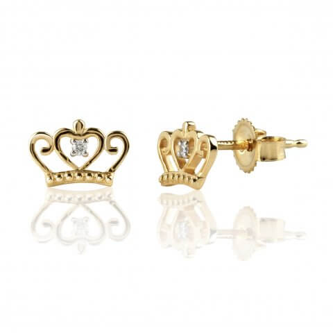 "Yellow gold diamond earrings ""Crown"""