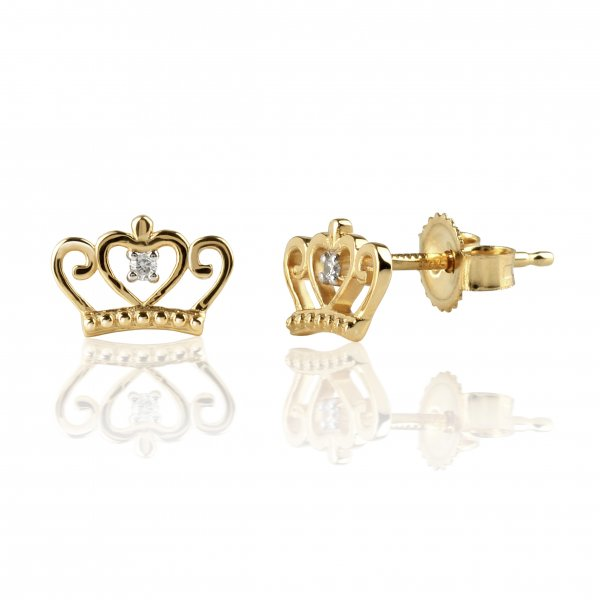 "Geltono aukso auskarai su deimantais ""Karūna"""