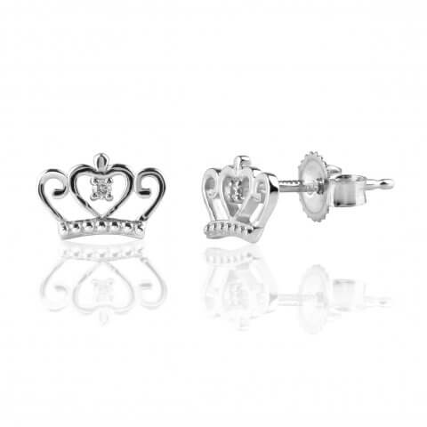 "White gold diamond earrings ""Crown"""