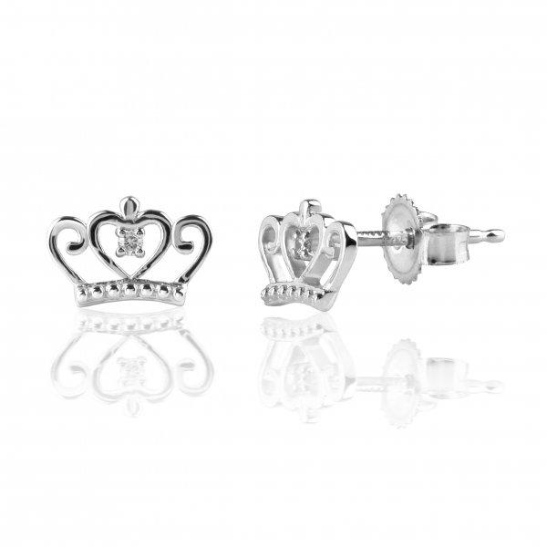 "White gold diamond earrings ""Crown"""