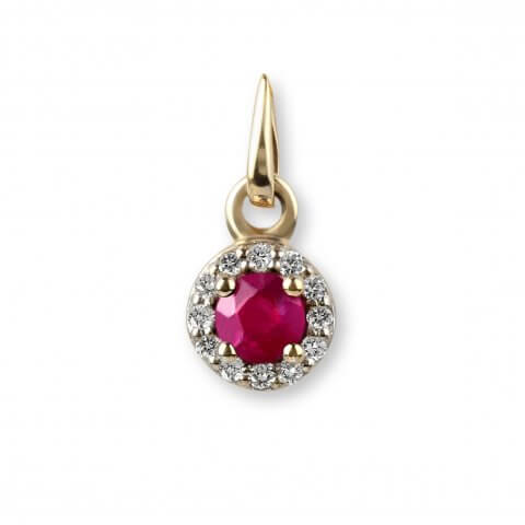 Yellow gold ruby and diamond pendant