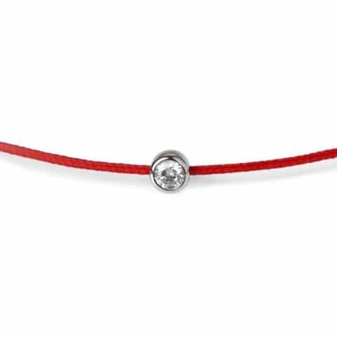 Raudona juostelė-apyrankė su 0,06 ct deimantu (baltas auksas)