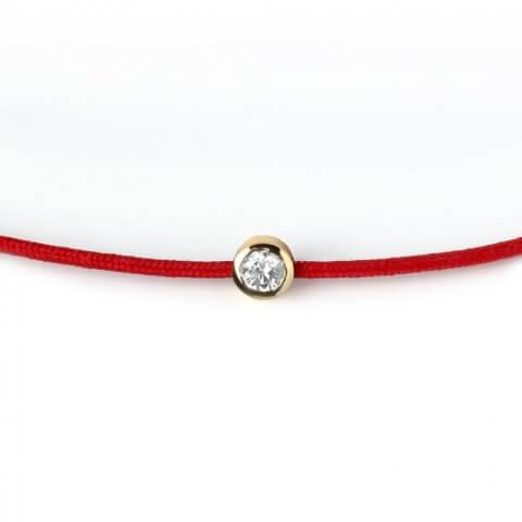 Raudona apyrankė su deimantais ir geltono aukso užsegimu
