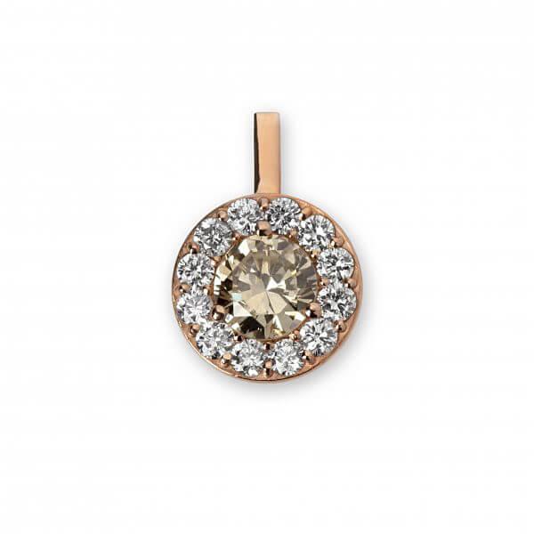 Rožinio aukso pakabukas su deimantais