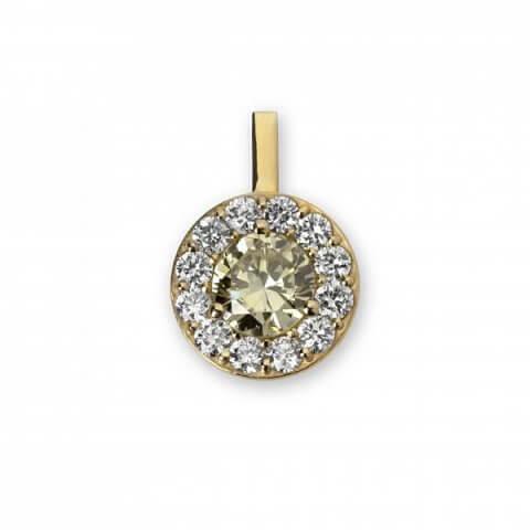 Geltono aukso pakabukas su deimantais