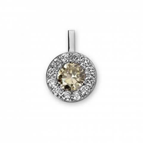 Balto aukso pakabukas su deimantais
