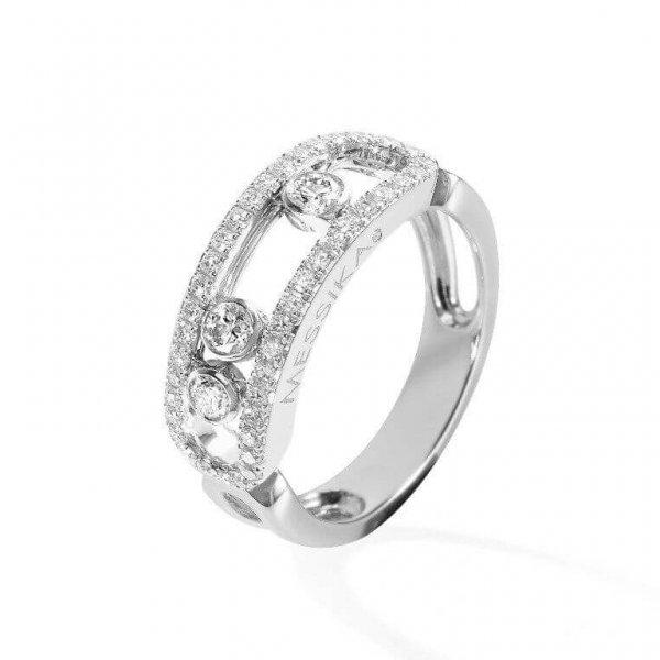 MESSIKA balto aukso žiedas su deimantais Move Classic