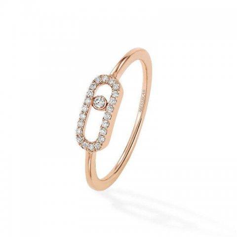 MESSIKA rožinio aukso žiedas su deimantais Move Uno