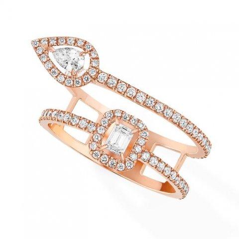 MESSIKA rožinio aukso žiedas su deimantais My Twin