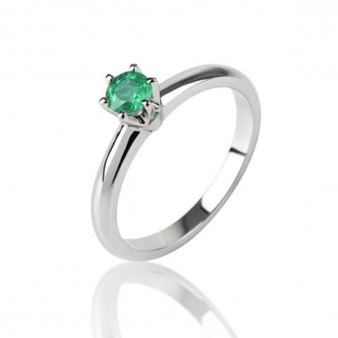 Balto aukso žiedas su smaragdu