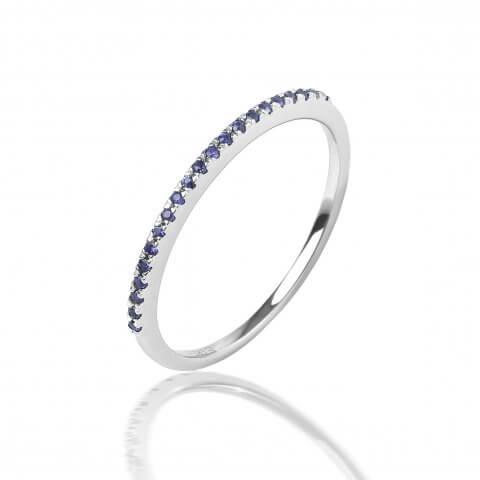 Balto aukso žiedas su safyrais