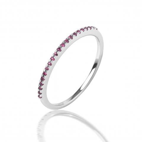 Balto aukso žiedas su rožiniais safyrais