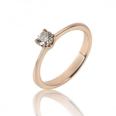 Rožinio aukso žiedas su deimantu