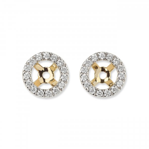 Geltono aukso auskarų švarkeliai su deimantais