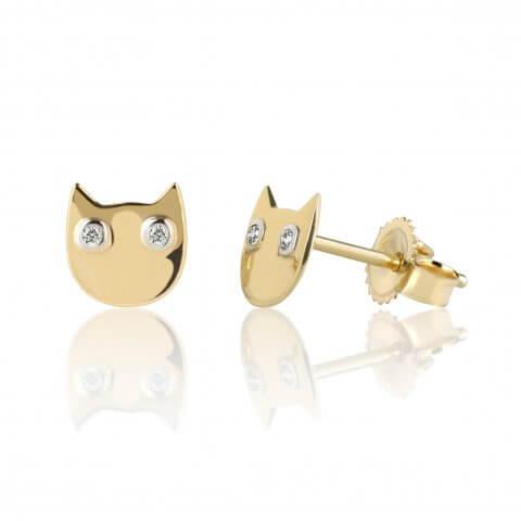 """Geltono aukso auskarai """"Katinėliai"""" su deimantais"""