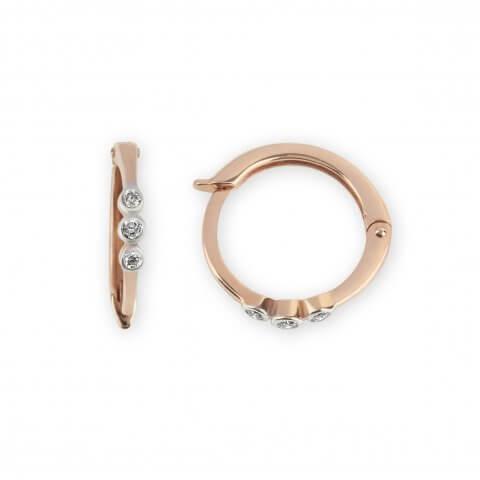 Rožinio aukso auskarai rinkelės su deimantais