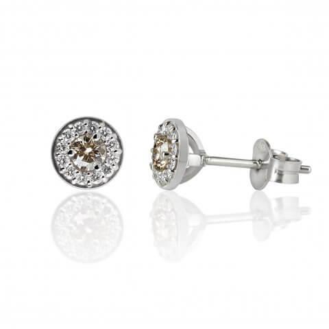 Balto aukso auskarai su deimantais
