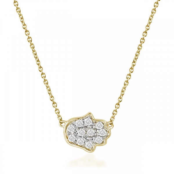 "Geltono aukso pakabukas su deimantais ""Hamsa"""