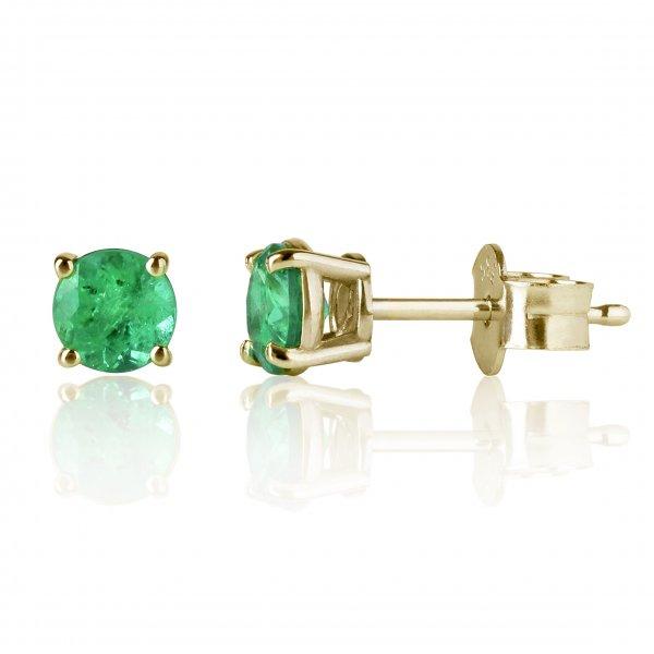 Geltono aukso auskarai su smaragdais