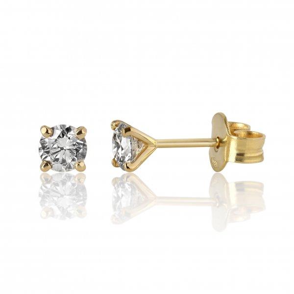 Geltono aukso auskarai su deimantais