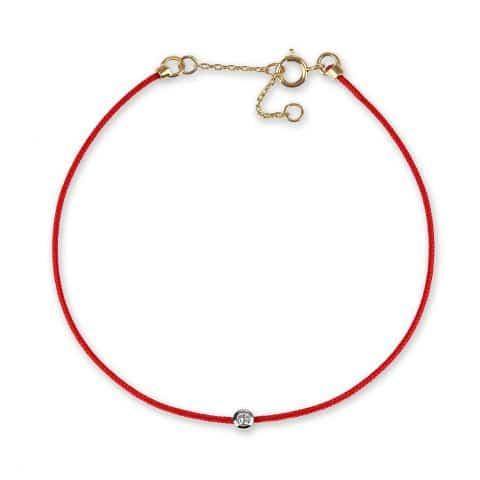 Raudona juostelė-apyrankė su deimantu ir geltono aukso užsegimu