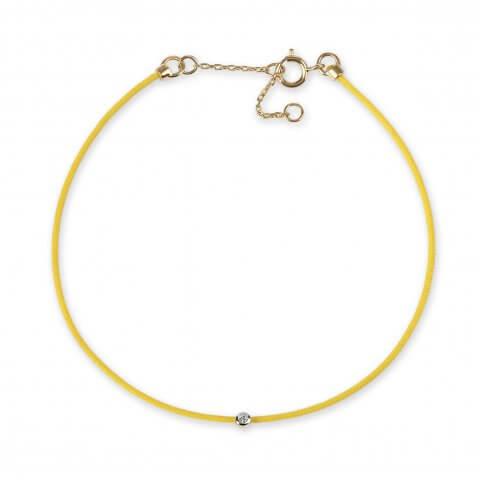 Geltona juostelė-apyrankė su deimantu ir geltono aukso užsegimu