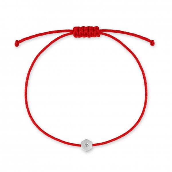 Raudona juostelė-apyrankė su deimantu by Robert Kalinkin (baltas auksas)