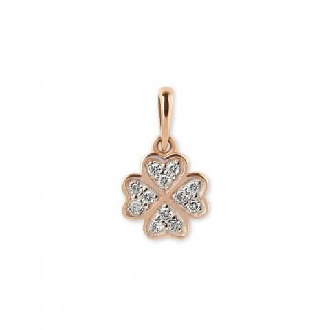 """Rožinio aukso pakabukas """"Dobiliukas"""" su deimantais"""