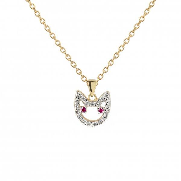 """Geltono aukso pakabukas """"Katinėlis"""" su rubinais ir deimantais"""