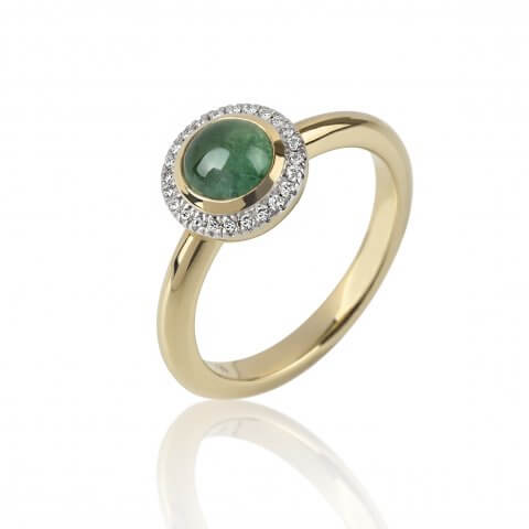 Geltono aukso žiedas su turmalinu ir deimantais