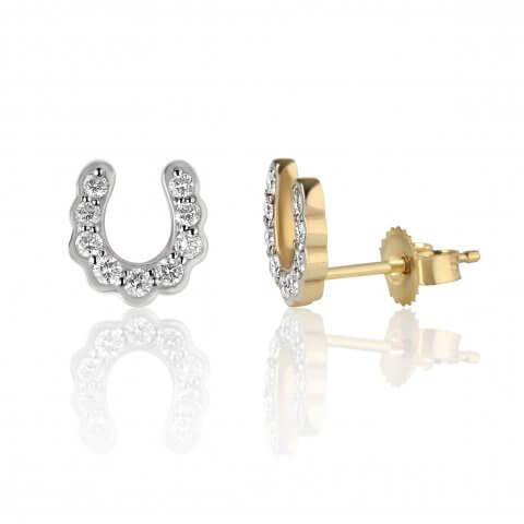 """Geltono aukso auskarai """"Pasagėlės"""" su deimantais"""
