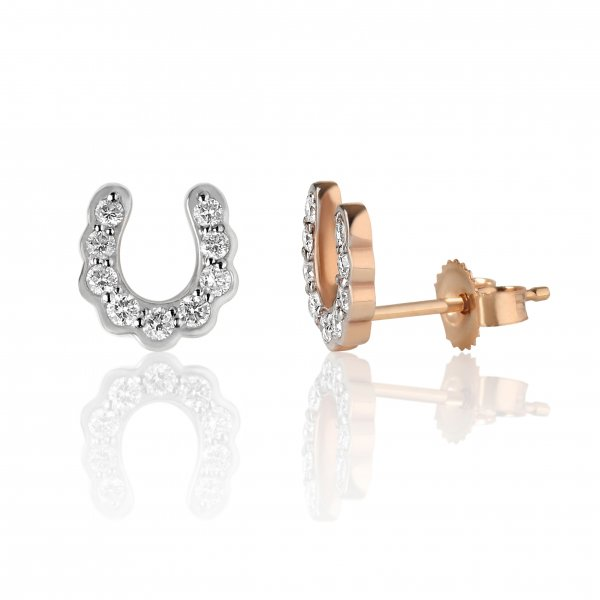 """Rožinio aukso auskarai """"Pasagėlės"""" su deimantais"""
