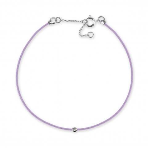 Violetinė juostelė-apyrankė su deimantu ir balto aukso užsegimu
