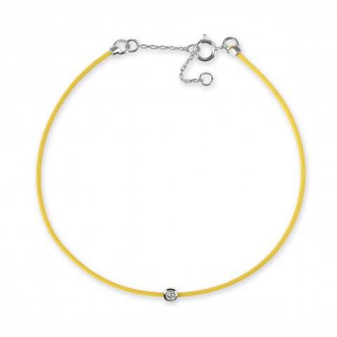 Geltona juostelė-apyrankė su deimantu ir balto aukso užsegimu