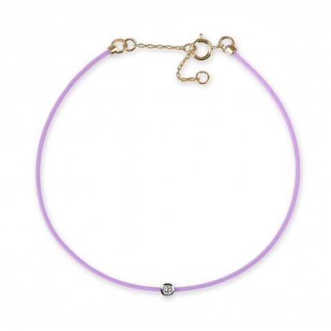 Violetinė juostelė-apyrankė su 0,03 ct deimantu ir geltono aukso užsegimu