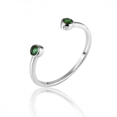 Atviras balto aukso žiedas su smaragdais